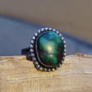 Native American Green Turquoise Sterling Ring S8
